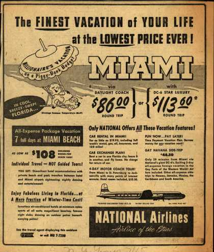 National Airline's Miami – The FINEST VACATION of YOUR LIFE at the LOWEST PRICE EVER (1952)