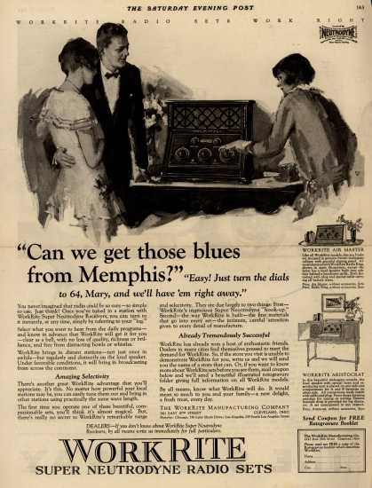 """WorkRite Manufacturing Company's Radio – """"Can we get those blues from Memphis?"""" (1924)"""