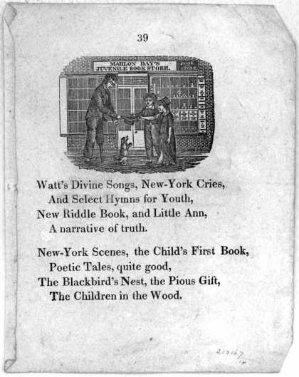 [8 lines of poetry advertising Mahlon Day's juvenile book store.] [18-]. (1800)