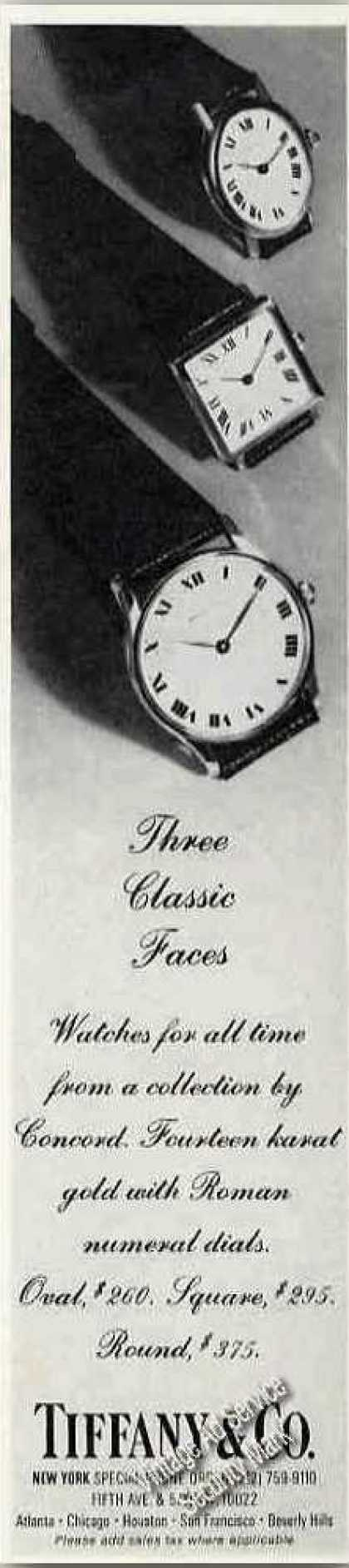 """Tiffany Watches """"Three Classic Faces"""" (1975)"""