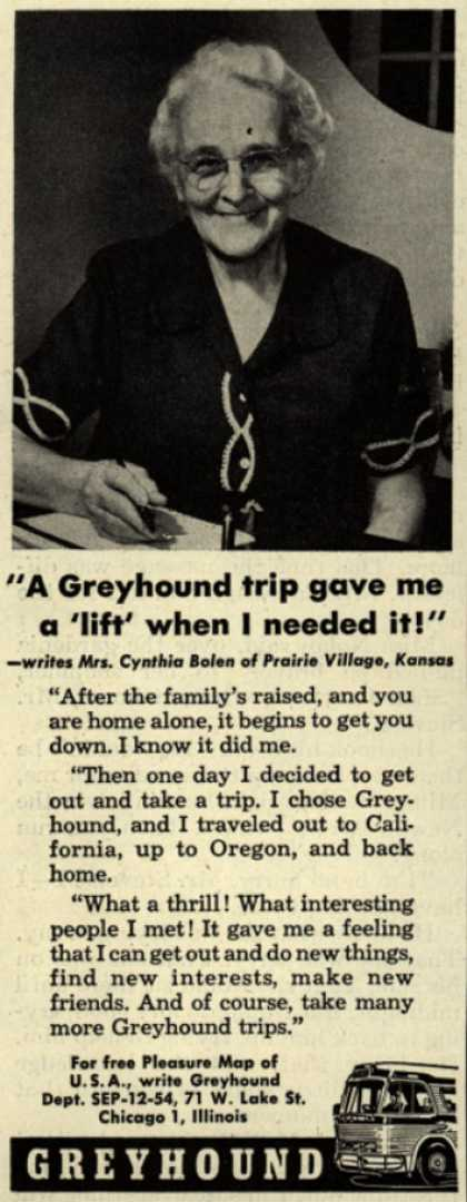 """Greyhound – """"A Greyhound trip gave me a 'lift' when I needed it!"""" (1954)"""