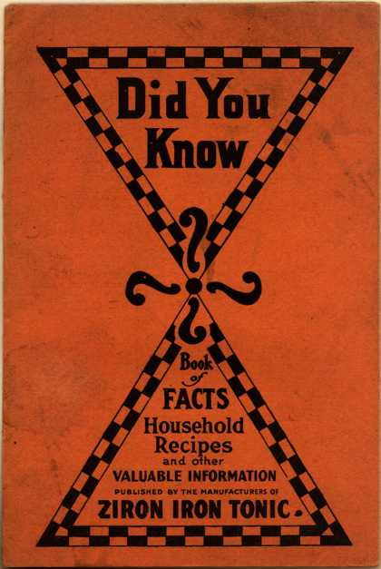 Chattanooga Drug and Chemical Co.'s Ziron Iron Tonic – Did You Know ...Book of Facts, Household Recipes and other Valuable Information