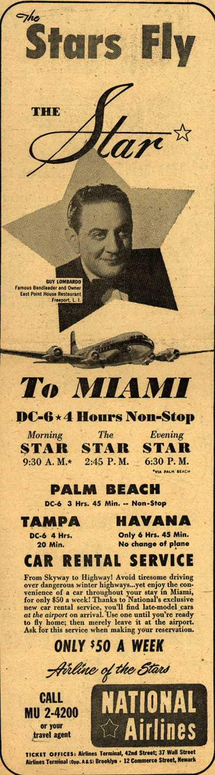 National Airline's Flight / Car Rental – The Stars Fly THE Star (1950)