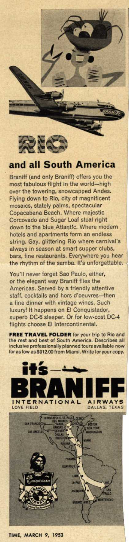 Braniff International Airway's South America – Rio and all South America (1953)