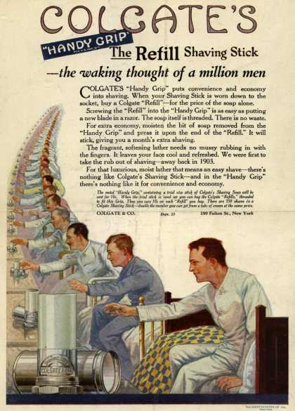 """Colgate & Company's Colgate's Handy Grip – Colgate's """"Handy Grip"""" The Refill Shaving Stick – the waking thought of a million men (1921)"""