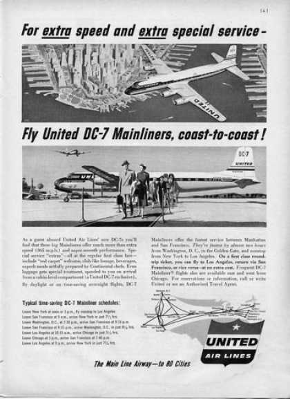 United Airlines Dc-7 Mainliners Plane (1954)