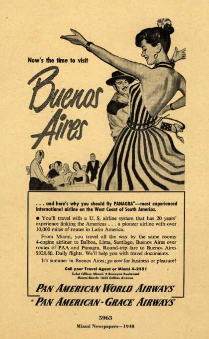 Pan American World Airways, Pan American-Grace Airway's Buenos Aires – Now's the time to visit Buenos Aires (1948)
