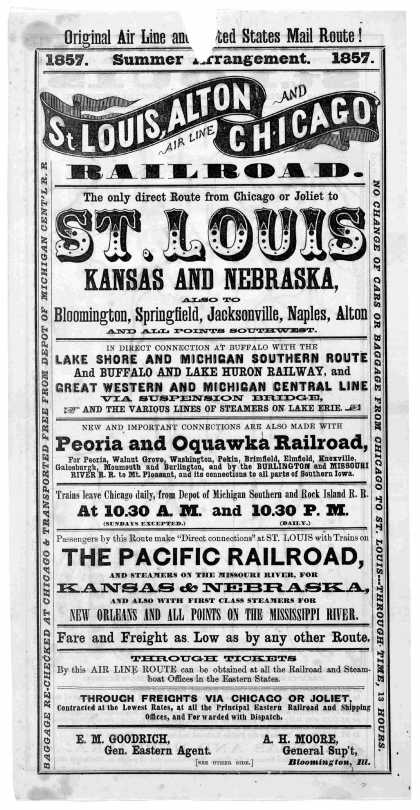 Original air line and United States mail route! 1857. Summer arrangement. 1857. St. Louis, Alton and Chicago air line railroad ... 1857. [Chicago? Ill (1857)