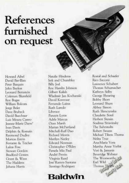 Baldwin Piano References Furnished Upon Request (1986)