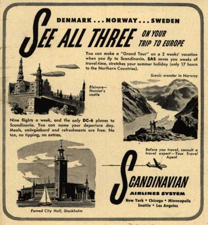 Scandinavian Airlines System's Scandinavia – Denmark... Norway... Sweden See All Three on Your Trip to Europe (1949)
