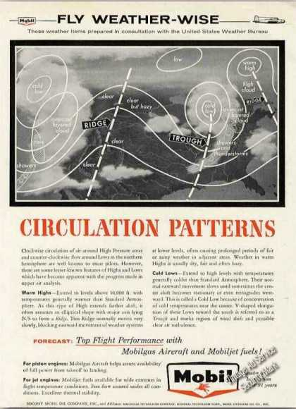 """Fly Weather-wise """"Circulation Patterns"""" Mobil (1957)"""