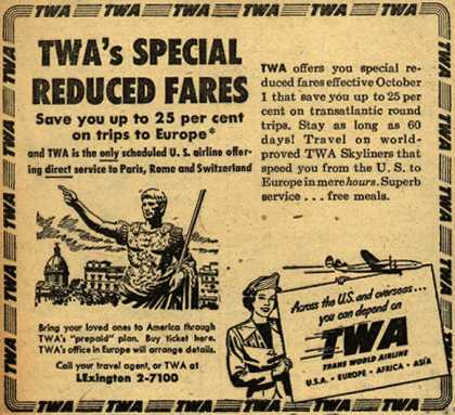 Trans World Airline's Reduced fares to Europe – TWA's Special Reduced Fares (1949)