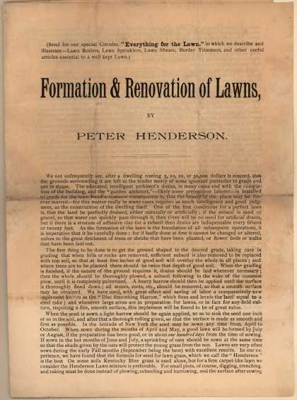 Peter Henderson & Co.'s Lawn Grass Seed, Lawn Enricher, and Lawn Mower – Formation & Renovation of Lawns