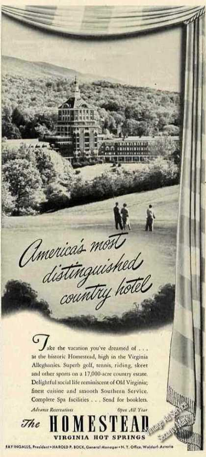 The Homestead Country Hotel Hot Springs Photo (1947)