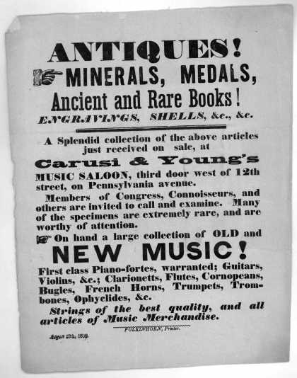 Antiques! minerals, medals, ancient and rare books! Engravings, shells, &c. &c. A splendid collection of the above articles just received on sale, at (1852)