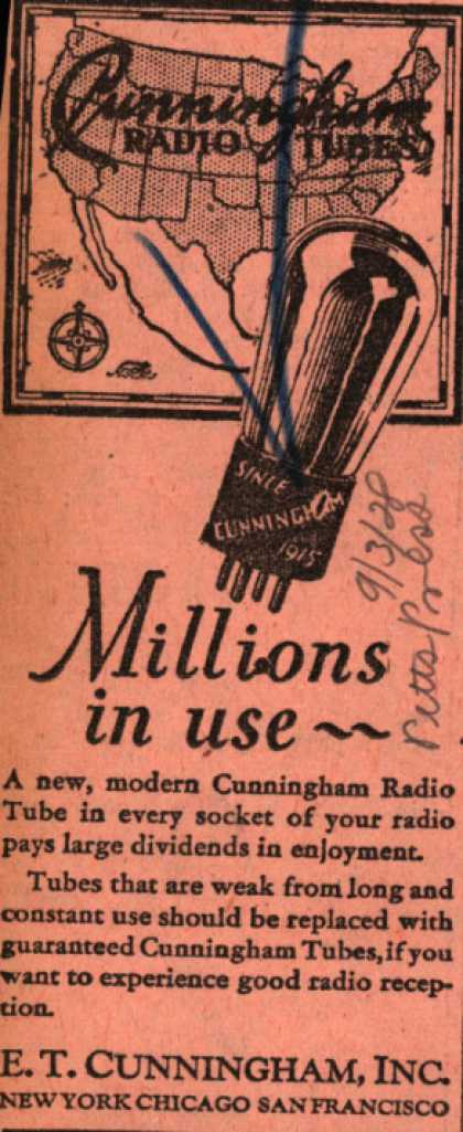 E.T. Cunningham's Radio Tubes – Millions in use... (1928)