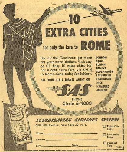 Scandinavian Airlines System's Europe – 10 Extra Cities for only the fare to Rome (1954)