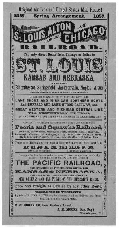 Original air line and United States mail route! 1857. Spring arrangement. 1857. St. Louis, Alton and Chicago railroad. The only direct route from Chic (1857)