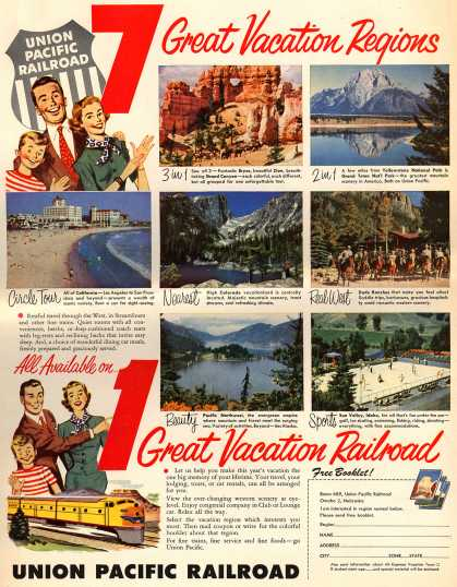 Union Pacific Railroad's Seven tours – 7 Great Vacation Regions, All Available on 1 Great Vacation Railroad (1954)