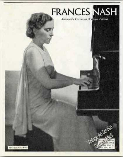 Frances Nash Photo Pianist Collectible Booking (1934)