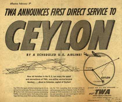 Trans World Airline's Ceylon – TWA ANNOUNCES FIRST DIRECT SERVICE TO CEYLON by a scheduled U.S. Airline (1953)