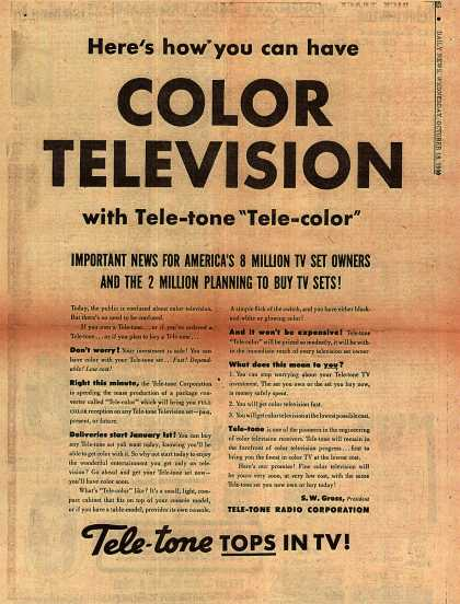 Tele-tone's Color convertible television – Here's how you can have COLOR TELEVISON (1950)