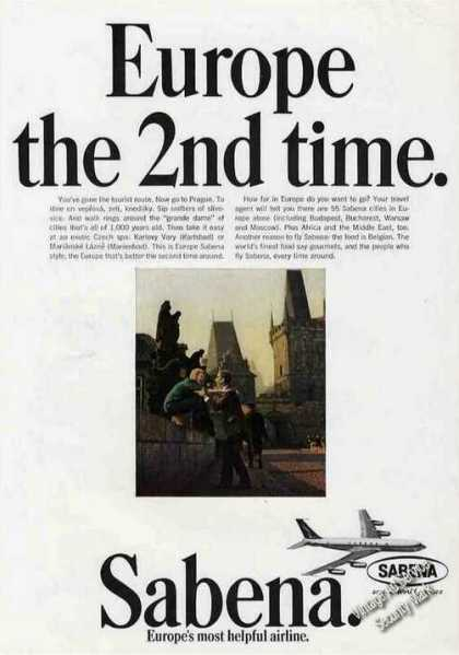 Europe the 2nd Time Sabena Airlines (1966)