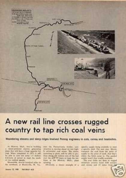 """""""New Rail Line Crosses Rugged Country"""" Article/prr (1968)"""
