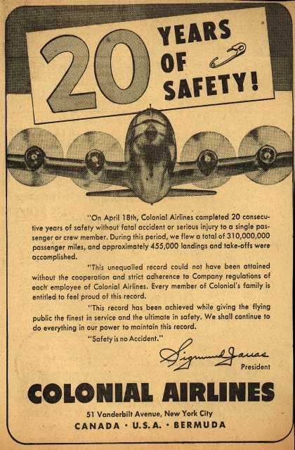Colonial Airline's Safety – 20 Years of Safety (1950)