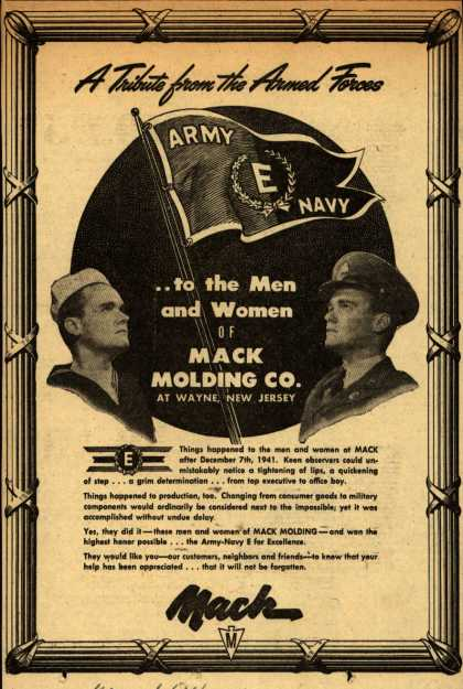 """Mack Molding Co.'s Army Navy """"E"""" – A Tribute from the Armed Forces (1943)"""