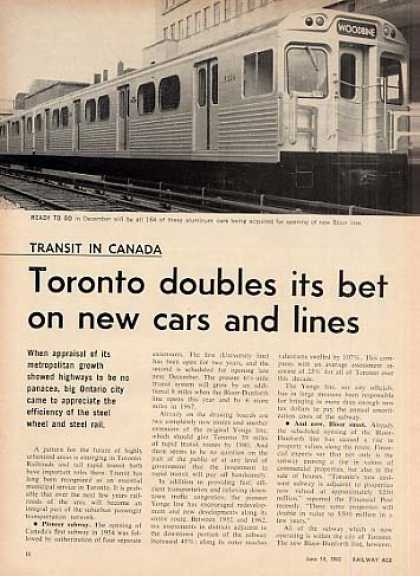 """""""Toronto Doubles It's Bet On New Cars..."""" Article (1965)"""