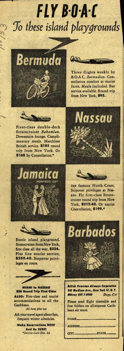 British Overseas Airways Corporation's Caribbean Islands – FLY BOAC To there island playgrounds (1953)