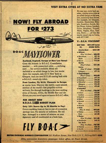 British Overseas Airways Corporation – NOW! FLY ABROAD FOR $273 (1954)