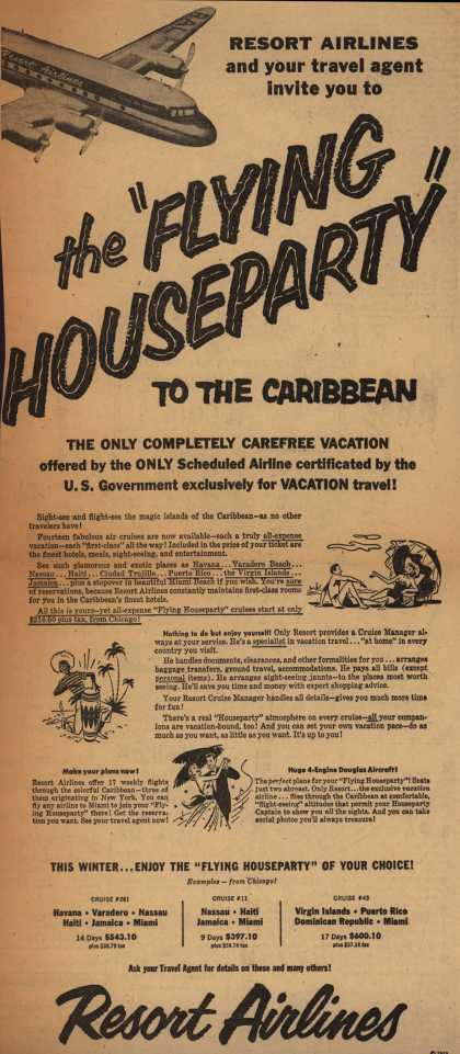 """Resort Airline's Flying Houseparty – Resort Airlines and your travel agent invite you to """"The Flying Houseparty"""" to the Caribbean (1953)"""