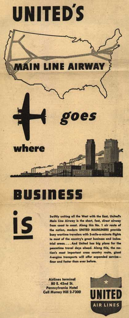 United Air Line's Main Line Airway – United's Main Line Airway goes where Business is (1945)