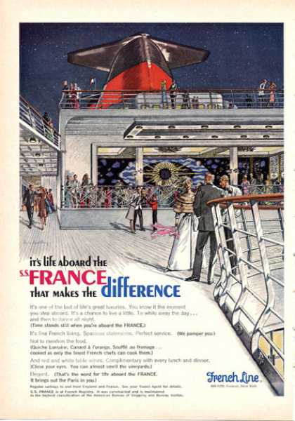 French Line Cruise Ship On Deck Formal Dance (1966)