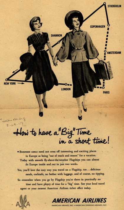 """American Airline's American Flagship – How to have a """"Big"""" Time in a short time (1949)"""