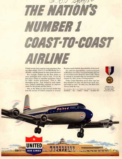 United Air Lines – The Nation's Number 1 Coast-To-Coast Airline (1950)