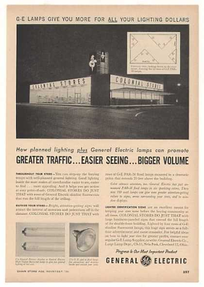 Colonial Stores GE General Electric Lamps Trade (1956)