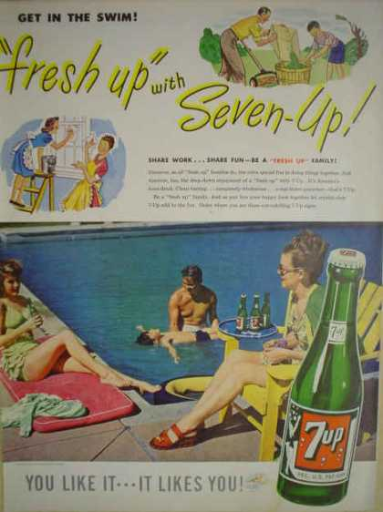 7 Up Fresh Up Family Pool Theme Share fun (1947)