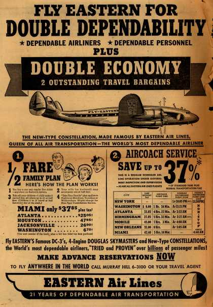 Eastern Air Lines – Fly Eastern for Double Dependability. Dependable Airliners. Dependable Personnel. Plus Double Economy, 2 Outstanding Travel Bargains. (1949)