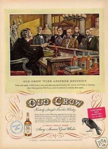 """Old Crow Whiskey Ad """"Old Crow Wins... (1950)"""